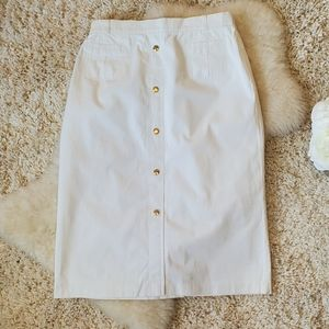 VINTAGE BASLER white pencil skirt button front
